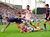 Wigan Warriors' Josh Charnley goes over to score a try against St Helens on July 22, 2013