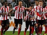 Sunderland's Wes Brown is congratulated by team mates after scoring against Spurs during the Barclays Asia Trophy on July 24, 2013