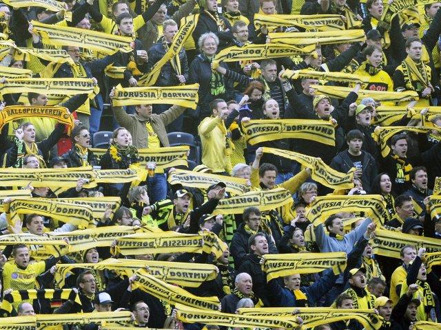Borussia Dortmund fans celebrate their team winning the German Cup in 2012.