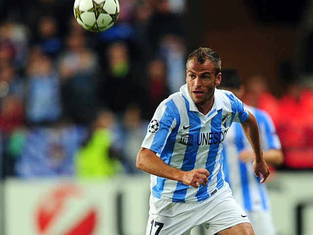 Malaga's Duda in action on October 24, 2012