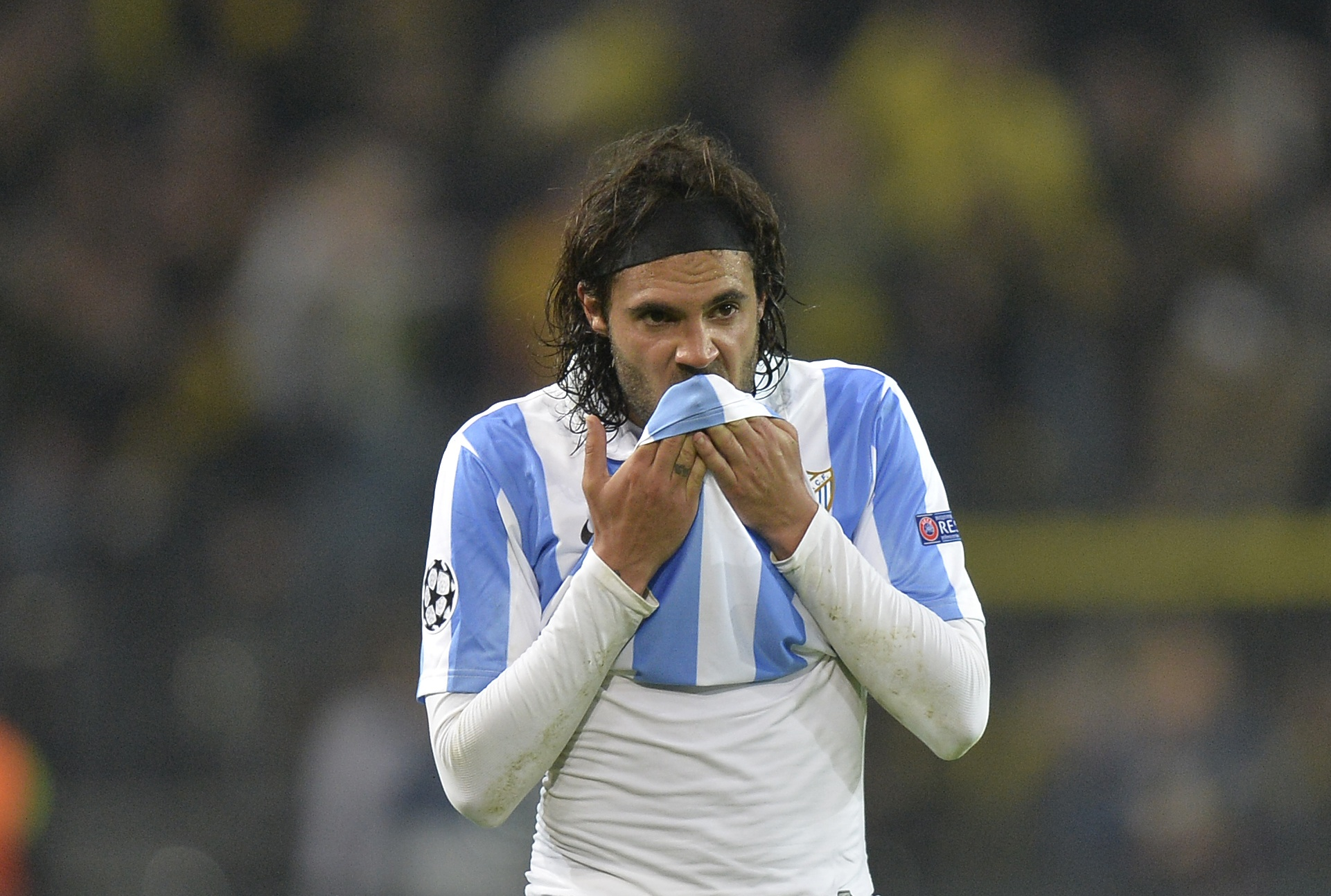 Malaga's Sergio Sanchez reacts during a Champions League match on April 9, 2013