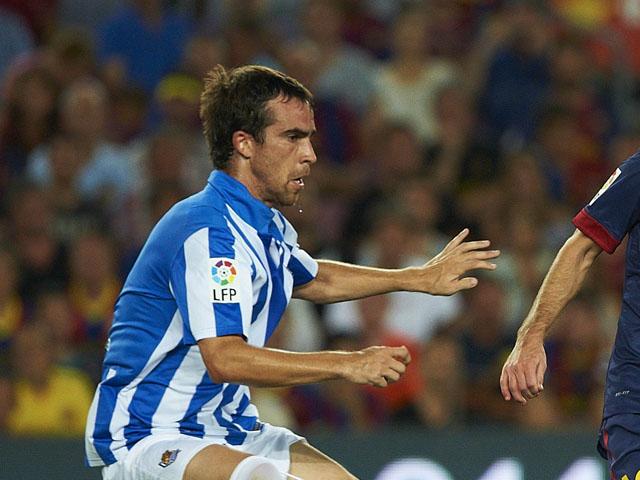 Real Sociedad's Mikel Gonzalez during the La Liga match against FC Barcelona on August 19, 2012