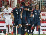 Munich's Mario Mandzukic celebrates after scoring against Sao Paulo in the Audi Cup match on July 31, 2013