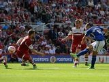 Leicester's Danny Drinkwater scores the equaliser against Middlesbrough on August 3, 2013