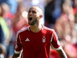 Forest's Henri Lansbury celebrates moments after scoring the opening goal against Huddersfield on August 3, 2013