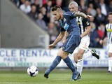 Newcastle United's Mathieu Debuchy scores during a pre-season friendly against St Mirren on July 30, 2013