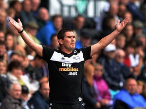 Derby manager Nigel Clough on the touchline during the match against Blackburn on August 4, 2013