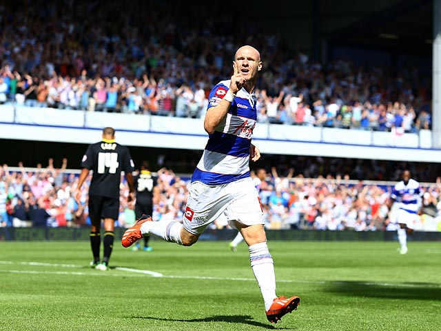 QPR's Andy Johnson celebrates moments after scoring his goal against Sheffield Wednesday on August 3, 2013
