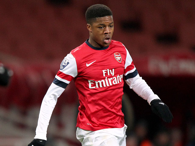 Arsenal youngster Chuba Akpom during a NextGen match against CSKA on March 25, 2013