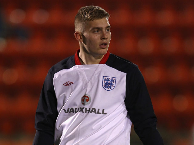 Connor Ripley of England looks on before the Under-19 European Championship Qualifier match between England and Czech Republic on February 28, 2013