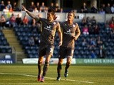 Leicester's David Nugent celebrates a goal against Wycombe on August 6, 2013