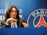 Paris Saint-Germain's Edinson Cavani attends a press conference on July 16, 2013