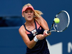 Agnieszka Radwanska in action against Sloane Stephens during the Rogers Cup on August 8, 2013