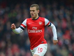 Jack Wilshere of Arsenal in action during the Barclays Premier League match between Arsenal and Aston Villa on February 23, 2013