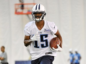 Tennessee Titans' Justin Hunter in action during Rookie Camp on May 10, 2013