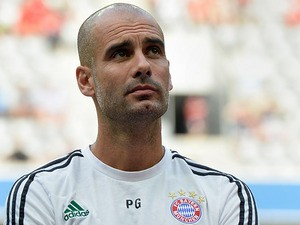 Bayern Munich head coach Pep Guardiola during a pre-season friendly on July 23, 2013