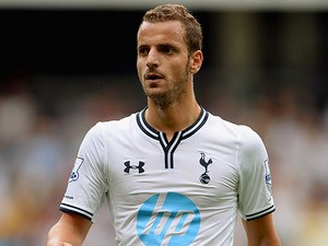 Spur's Roberto Soldado in action during a friendly match against Espanyol on August 10, 2013
