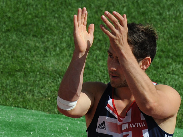 Ashley Bryant celebrates after taking his decathlon javelin throw during the European Athletics Championships on June 28, 2012