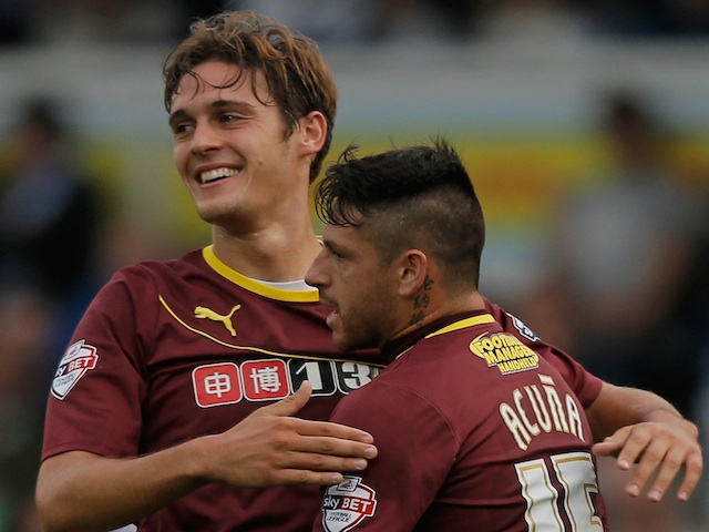 Watford's Gabriele Angella (left) celebrates his goal against Bristol Rovers on August 6, 2013