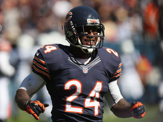 Kelvin Hayden of the Chicago Bears smiles as he leaves the field after recovering a fumble against the Indianapolis Colts during their 2012 NFL season opener at Soldier Field on September 9, 2012