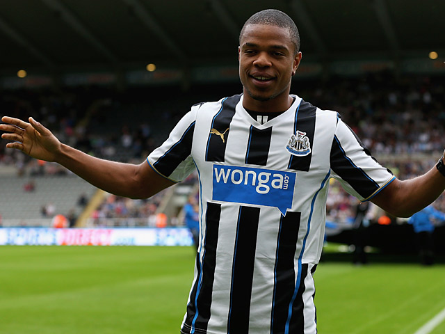 Newcastle United's Loic Remy is unveiled to fans at St James' Park before a friendly match against Braga on August 10, 2013