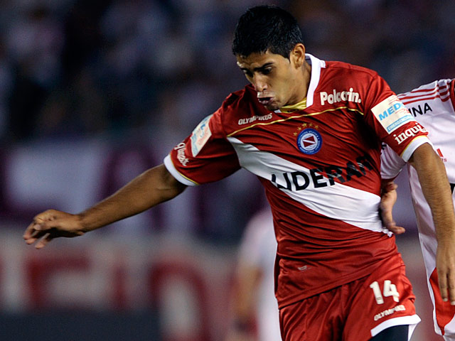 Argentinos Juniors' Matias Laba in action on March 6, 2011