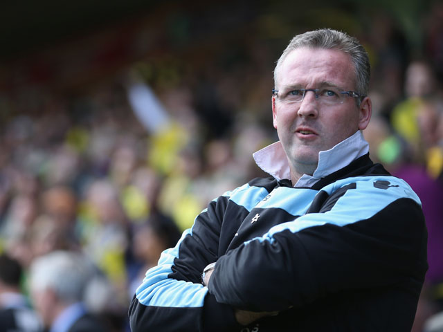 Paul Lambert the manager of Aston Villa during the Barclays Premier League match between Norwich City and Aston Villa on May 4, 2013