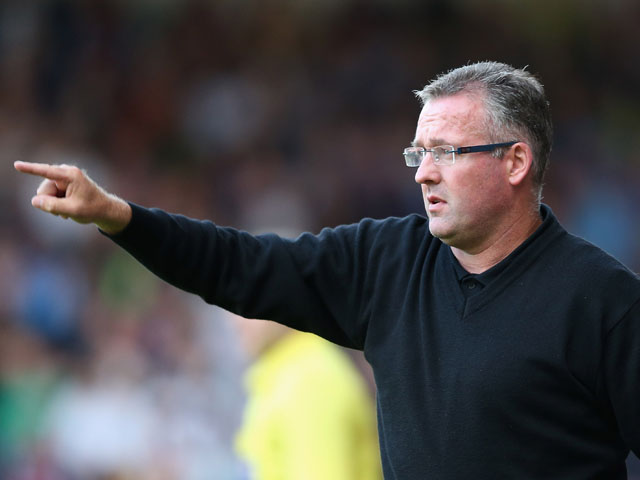 Aston Villa manager Paul Lambert shouts instructions during the pre season friendly match between Walsall and Aston Villa at the Banks' Stadium on July 31, 2013