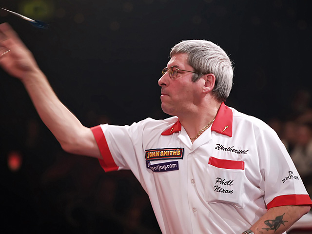 Phil Nixon in action during the Final of the Men's World Professional Darts Championship on January 14, 2007