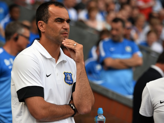 Everton boss Roberto Martinez during a game with Blackburn on July 27, 2013