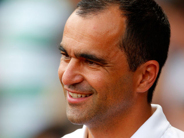 Manager Roberto Martinez of Everton watches on before the Pre Season Friendly match between Blackburn Rovers and Everton FC at Ewood Park on July 27, 2013