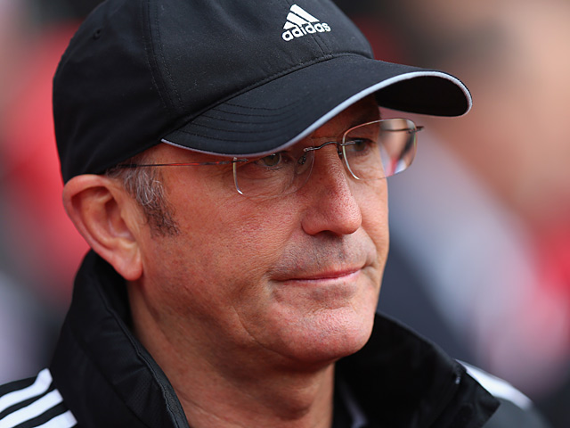 Stoke City Manager Tony Pulis prior to kick-off during the match against Southampton on May 19, 2013