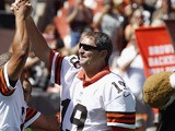 Former player Bernie Kosar before the game against the Philadelphia Eagles their season opener at Cleveland Browns Stadium on September 9, 2012