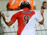Monaco's Colombian forward Radamel Falcao celebrates after scoring a goal during a French L1 football match between Bordeaux and Monaco on August 10, 2013