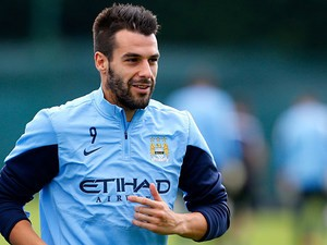 Manchester City's Alvaro Negredo during a training session on August 16, 2013