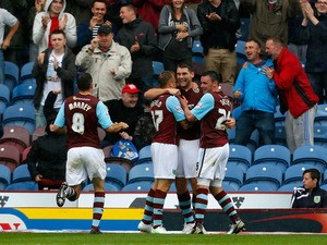 Sam Vokes of Burnley celebrates his goal during the Sky Bet Championship match between Burnley and Yeovil Town at Turf Moor on August 17, 2013