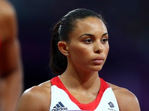 Louise Hazel in action during the Women's heptathlon at the London Olympics on August 4, 2012