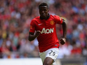 Wilfried Zaha of Manchester United runs for the ball during the FA Community Shield match between Manchester United and Wigan Athletic at Wembley Stadium on August 11, 2013
