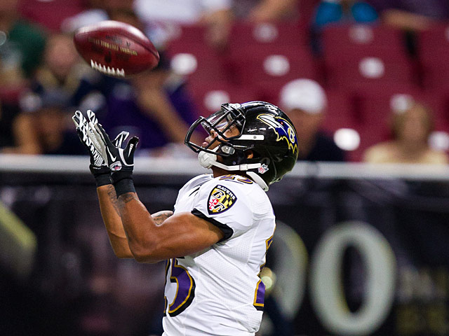 Baltimore Ravens' Asa Jackson in action on August 30, 2013