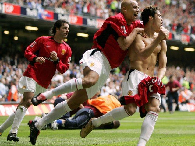 Cristiano Ronaldo celebrates scoring in the 2004 FA Cup final.