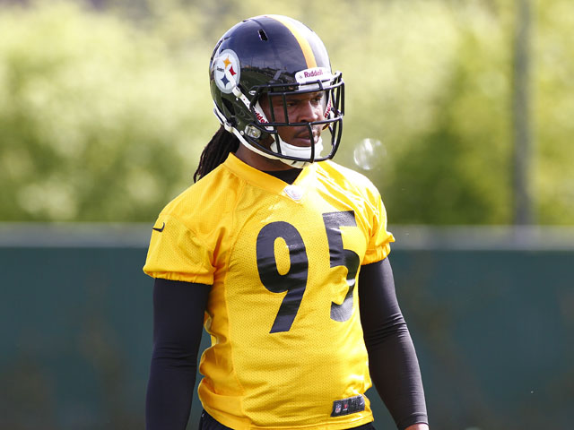Jarvis Jones of the Pittsburgh Steelers participates in drills during Rookie Camp on May 3, 2013