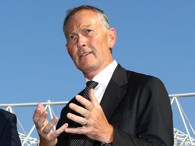 Chief Executive of the Premier League Richard Scudamore speaks to the media during the Goal Decision Systemmedia event at the Emirates Stadium on August 8, 2013