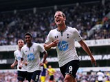 Spurs' Roberto Soldado celebrates after scoring the opener from the penalty spot during the match against Swansea on August 25, 2013