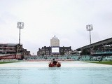 Rain stops play at The Oval as the fourth day of the fifth Ashes test between England and Australia on August 24, 2013