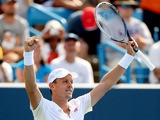 Tomas Berdych of Czech Republic celebrates match point against Andy Murray of Great Britain during the Western & Southern Open on August 16, 2013