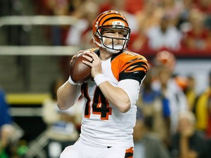 Andy Dalton #14 of the Cincinnati Bengals against the Atlanta Falcons at Georgia Dome on August 8, 2013