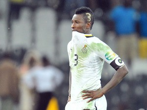Ghana's forward Asamoah Gyan reacts at the end of penalty shoot out of the 2013 African Cup of Nations semi-final football match Burkina Faso vs Ghana, on February 6, 2013