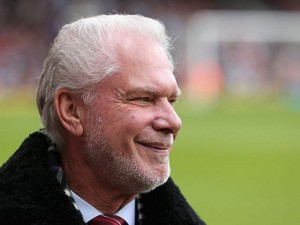 Joint Chairman of West Ham United David Gold looks on ahead of the Barclays Premier League match between West Ham United and Newcastle United at the Boleyn Ground on May 04, 2013