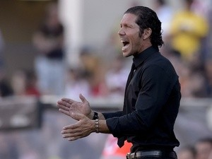 Atletico boss Diego Simeone on the touchline against Rayo on August 25, 2013