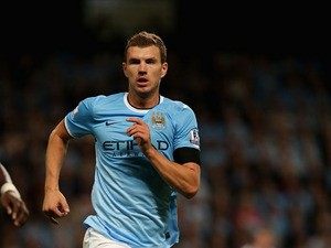 Edin Dzeko of Manchester City in action during the Barclays Premier League match between Manchester City and Newcastle United at the Etihad Stadium on August 19, 2013